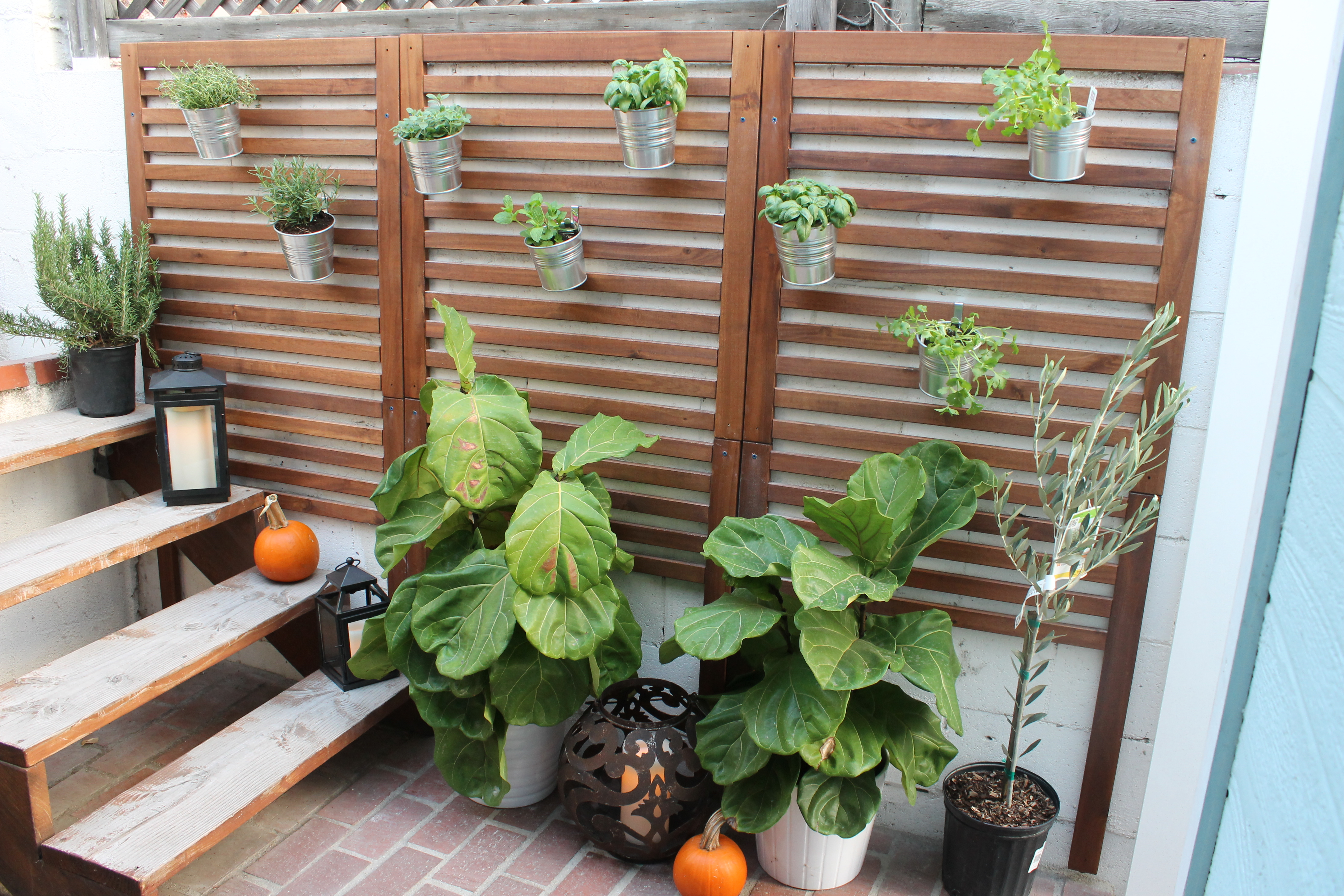 Weekend project patio garden for Outdoor wall planter ideas