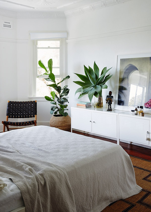 White Bedroom with Greens